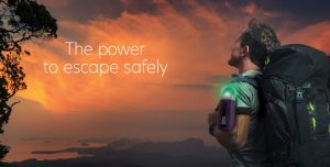 image of man with Unibank unit with ambient light and silicone sleeve, text: the power to escape safely